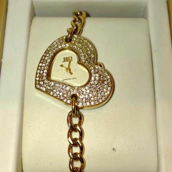 Jennifer Lopez rhinestone chain heart watch